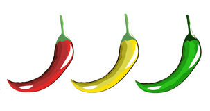 Burning red yellow and green peppers Royalty Free Stock Photography