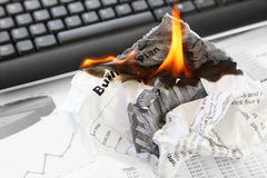 Burning Rejected Business Plan Royalty Free Stock Photography