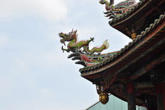 Carved Wooden Dragon Roof Ornament on a Temple in Taipei  Stock Photography