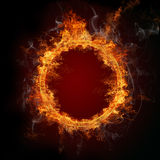 Burning ring. Fire ring with smoke on black background Royalty Free Stock Images