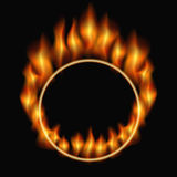 Burning ring. Ring in flames on a black background. vector illustration Stock Photos