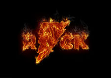 Burning rock letters. Interesting logo art in music concept Royalty Free Stock Images