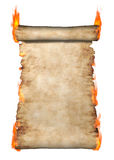 Burning Roll Of Parchment Stock Image