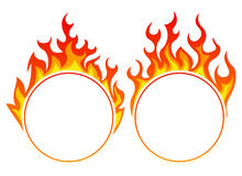 Burning round frame. Set on white Royalty Free Stock Photos