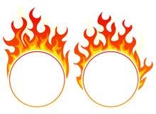 Burning round frame Stock Images