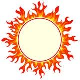Burning round frame. Set on white background Stock Photography
