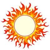 Burning round frame. Set on white background Stock Photos