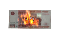 Burning ruble Royalty Free Stock Image