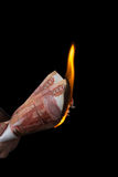 Burning rubles Royalty Free Stock Photo