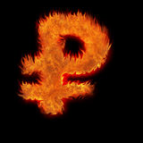 Burning russian rus ruble Royalty Free Stock Images