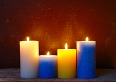 Burning Rustic Candles royalty free stock images