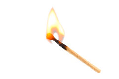 Burning safety-match with red Royalty Free Stock Photo