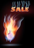Burning sale. Burning apple in space. A smoking word - sale Royalty Free Stock Photos