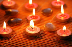 Burning scented candles. For aromatherapy session Royalty Free Stock Photo
