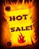 Burning Scroll: Hot Sale Sign Stock Photography