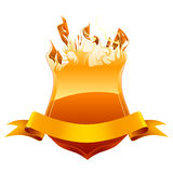 Burning shield emblem Stock Photos