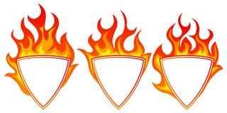 Burning shield form frame. Set on white backgroundn Royalty Free Stock Image