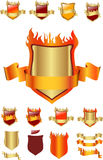 Burning shield and ribbon Stock Photo