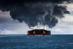 Burning ship Royalty Free Stock Photography