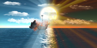 Burning ships over sea at day and sunset. Burning ship over sea floating dreaming with semi-cloudy blue sky at day and sunset Stock Photography
