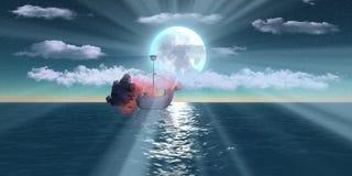 Burning ships over sea at night Royalty Free Stock Photography