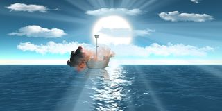 Burning ships over sea with semi-cloudy blue sky Stock Photography