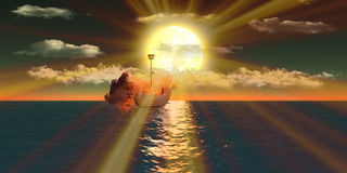 Burning ships over sea at sunset. Burning ship over sea floating dreaming with semi-cloudy at sunset Stock Photos