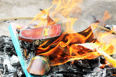 Burning shoes Ghost for Chinese Ghost Royalty Free Stock Photos