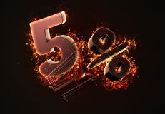 Burning shopping cart and red Five percent discount sign. 3D ill Royalty Free Stock Photos