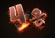 Burning shopping cart and red four percent discount sign. 3D ill Stock Photo