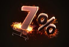 Burning shopping cart and red Seven percent discount sign. 3D il Royalty Free Stock Images