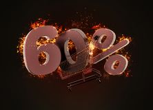 Burning shopping cart and red sixty percentage discount sign. 3D Royalty Free Stock Images