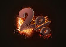 Burning shopping cart and red two percent discount sign. 3D illu. Stration Stock Photography