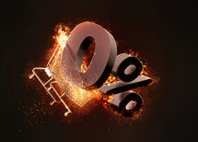 Burning shopping cart and red zero percentage discount sign. 3D Royalty Free Stock Photo