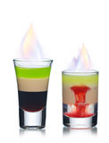 Burning shots isolated on white Royalty Free Stock Image