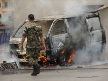 burning skåpbil Arkivfoton