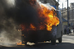 burning skåpbil Royaltyfri Foto