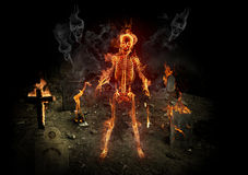 Burning skeleton stock illustration