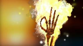 Burning skeleton OK sign. Alpha matted stock video footage