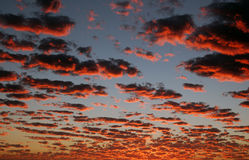 Burning Skies 1. Fiery clouds at sunset in San Diego, California Stock Photos