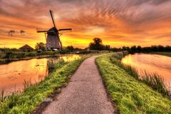 Sunrise over Rietveldse Molen royalty free stock photos