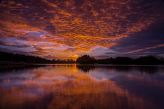 Burning skies in wetland Putrajaya Royalty Free Stock Image