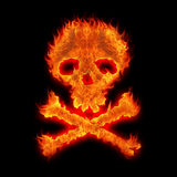 Burning skull. And bones abstract halloween illustration Stock Image