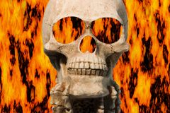 Burning skull. Skull with flames Royalty Free Stock Photo