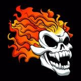 Burning skull on black background. Vector illustration Stock Images