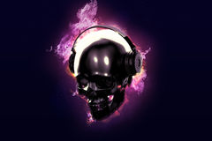 Burning skull with headphones. Burning skull with headphones on black background Royalty Free Stock Photography