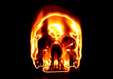 Burning skull. Isolated on black background Stock Photography