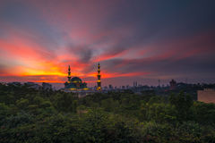 Burning Sky at the Federal Mosque of Kuala Lumpur Stock Photo