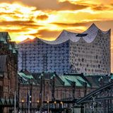 Burning sky over Hamburg royalty free stock photos