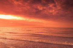 Burning sky over the sea Royalty Free Stock Photos